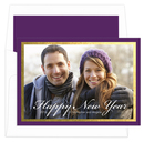 Purple and Gold Foil Border Photo Cards