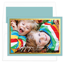 Aqua and Gold Foil Border Photo Cards