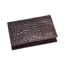 Brown Foldover Crocodile Embossed Leather Card Case