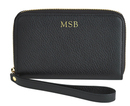 Personalized Black Leather Wristlet Phone Wallet Case