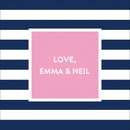Navy Stripe Square Stickers