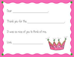 Pink Princess Crown Fill In Thank You Notes