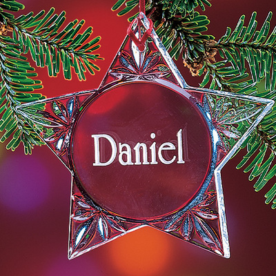 Deep Etched Personalized Crystal Star Ornament