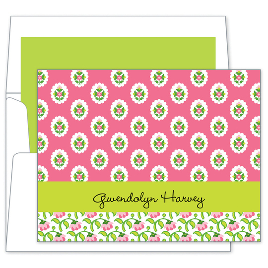 Block Provencial Pink Folded Note Cards