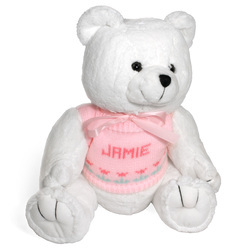 Plush Stuffed White<br> Teddy Bear with <br>Personalized Sweater