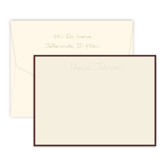 Anthony Embossed Flat Note Cards with Border Color of Your Choice