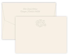 Triple Thick Embossed Classic Monogram Flat Note Cards