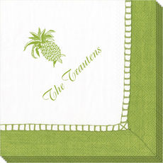 Bright Green Border Caspari Napkins