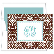 Chocolate Wrought Iron Foldover Note Cards