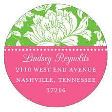 White Floral on Green and Hot Pink Round Address Labels