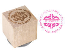 Toile Address Wood Block Rubber Stamp