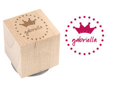 Dotty Crown Wood Block Rubber Stamp