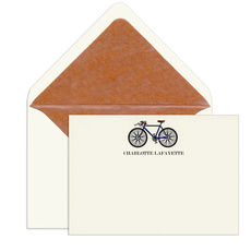 Blue Bicycle Engraved Motif Flat Note Cards