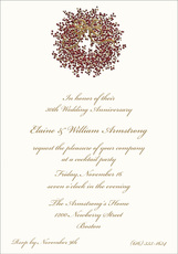 Embossed Pepperberry Wreath Invitations