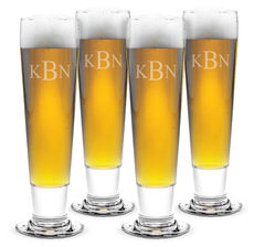 Monogrammed Tall Pilsner Glass Set of 4