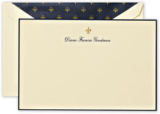 Engraved Border Flat Note Cards with Fleur de Lis Motif