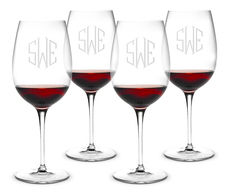 Monogrammed 20 oz. Bordeaux Wine Glass Set of 4