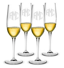 Monogrammed Champagne Flute Glass Set of 4