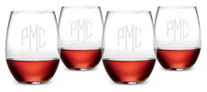 Monogrammed 23.25 oz. Stemless Caberbet Glass Set of 4