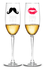 Personalized 8 oz. Moustache & Kiss Toasting Flutes Set of 2