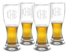 Monogrammed 20 oz. Pilsner Glass Set of 4