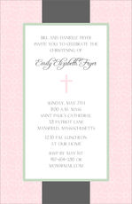 Elegant Pink and Grey Cross Invitations