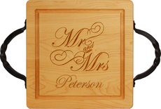 Maple 12 inch Square Mr & Mrs Personalized Cutting Board