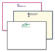 Triple Thick Custom Flat Bordered Note Cards with Your 1-Color Artwork