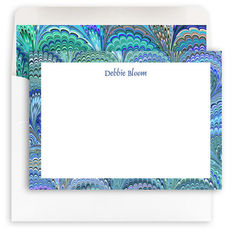 Peacock Italian Marble Personalized Flat Stationery