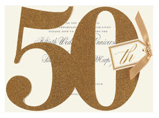 50th Anniversary Glittered Die-cut Invitations