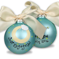 Just Engaged Glass Christmas Ornament