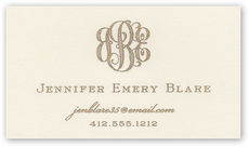 Manor Engraved Monogram Ecru Calling Cards
