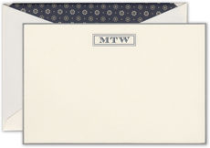 Kingswood Monogram and Bordered Ecru Flat Correspondence Cards