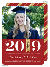Red and Gold Graduation Photo Announcements