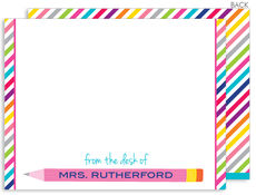 Pink Pencil Flat Note Cards