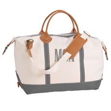 Personalized Grey Trimmed Weekender