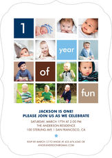 Blue One Year of Fun Photo Invitations