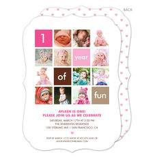 Pink One Year of Fun Invitations