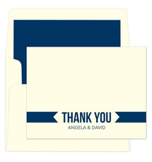 Navy Thank You Banner Folded Note Cards