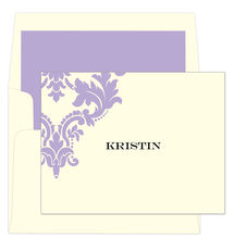 Orchid Damask Scroll Folded Note Cards