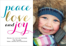 Turquoise Peace Love and Joy Photo Cards
