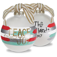 Peace, Love and Joy Glass Christmas Ornament
