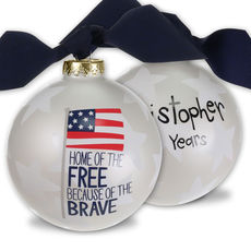 Home of the Free Glass Christmas Ornament