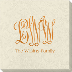 Large Script Monogram with Text Carte Embossed Napkins