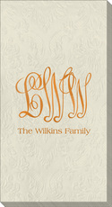 Large Script Monogram with Text Carte Guest Embossed Towels