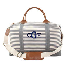 Personalized Gray Stripes Weekender