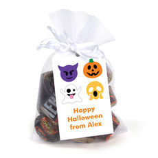 Halloween Emoji Hanging Gift Tags with Organza Bags