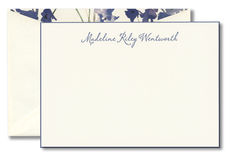 Marine Blue Letterpress with Painted Edge Flat Note Cards on Boardstock