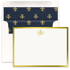 Gold Metallic Bordered Flat Note Cards