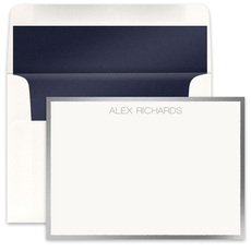 Silver Metallic Bordered Flat Note Cards